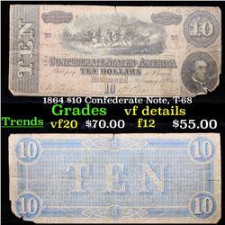 1864 $10 Confederate Note, T-68 Grades vf details