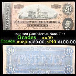1864 $20 Confederate Note, T-67 Grades AU, Almost Unc