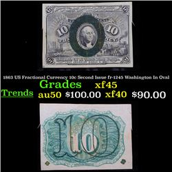 1863 US Fractional Currency 10c Second Issue fr-1245 Washington In Oval Grades xf+