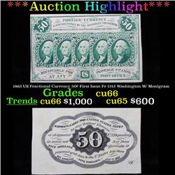 ***Auction Highlight*** 1863 US Fractional Currency 50¢ First Issue Fr-1312 Washington W/ Monigram G
