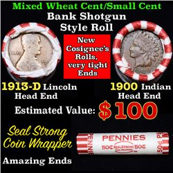 Mixed small cents 1c orig shotgun roll, 1913-d Wheat Cent, 1900 Indian cent other end, Seal Strong W