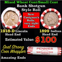 Mixed small cents 1c orig shotgun roll, 1918-d Wheat Cent, 1899 Indian cent other end, Seal Strong W