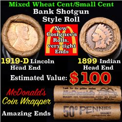 Mixed small cents 1c orig shotgun roll, 1919-d Wheat Cent, 1899 Indian cent other end, Seal Strong W