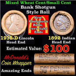 Mixed small cents 1c orig shotgun roll, 1916-d Wheat Cent, 1892 Indian cent other end, McDonalds Wra