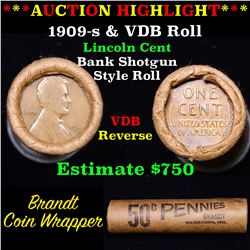 Lincoln Wheat cent 1c orig roll, 1909-s end, VDB other end