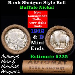 Buffalo Nickel Shotgun Roll in Old Bank Style 'Automat Horn & Hardhat' Wrapper 1919 & d Mint Ends
