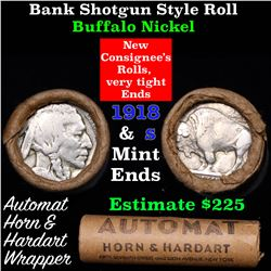 Buffalo Nickel Shotgun Roll in Old Bank Style 'Automat Horn & Hardhat' Wrapper 1918 & s Mint Ends
