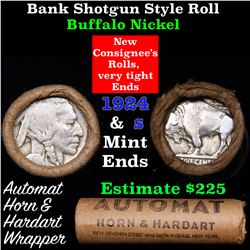 Buffalo Nickel Shotgun Roll in Old Bank Style 'Automat Horn & Hardhat' Wrapper 1924 & s Mint Ends