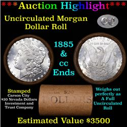 ***Auction Highlight*** 1885 & CC Uncirculated Morgan Dollar Shotgun Roll (fc)