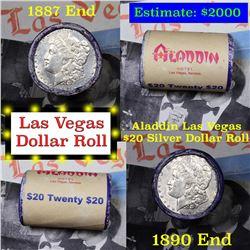 ***Auction Highlight*** Full Morgan/Peace Aladdin Hotel silver $1 roll $20, 1887 & 1890 end (fc)