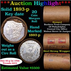 ***Auction Highlight*** Full solid date 1893-p Morgan silver $1 roll, 20 coins (fc)