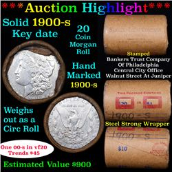 ***Auction Highlight*** Full solid date 1900-s Morgan silver dollar roll, 20 coins (fc)