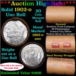 ***Auction Highlight*** Full solid date 1902-o Uncirculated Morgan silver dollar roll, 20 coins (fc)