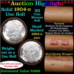***Auction Highlight*** Full solid date 1904-o Uncirculated Morgan silver dollar roll, 20 coins (fc)