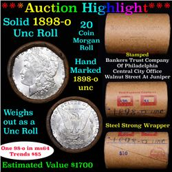 ***Auction Highlight*** Full solid date 1898-o Uncirculated Morgan silver dollar roll, 20 coins (fc)