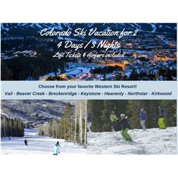 Colorado- Western Ski Experience 4 Days/3 Nights 2 People with Airfare