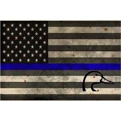 Thin Blue Line Wood Flag