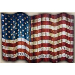 Corrugated Waving American Flag