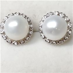 SILVER PEARL CZ EARRINGS