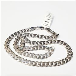 "SILVER CUBAN 18"" 32.6G NECKLACE"