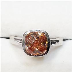 SILVER BROWN CZ RING
