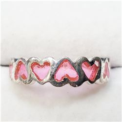 SILVER PINK CRYSTAL RING