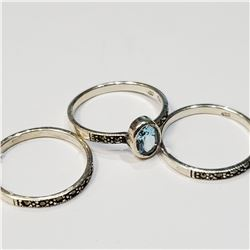 SILVER LOTS OF 3 RING, BLUE TOPAZ + MARCASITE RING