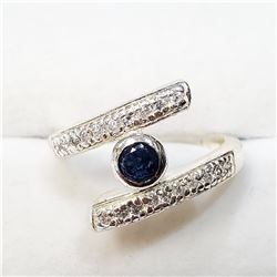 SILVER CREATED SAPPHIRE + CZ RING