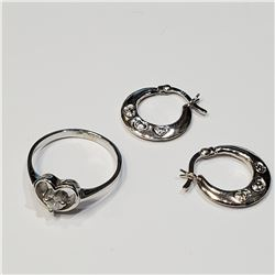 SILVER EARRING AND CZ RING M