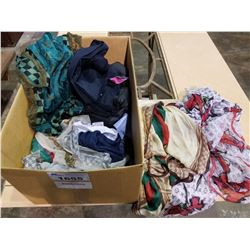 BOX OF ASSORTED DESIGNER WEAR (SCARFS, PANTS, SHIRTS, ACCESSORIES, ETC) AUTHENTICITY UNKNOWN