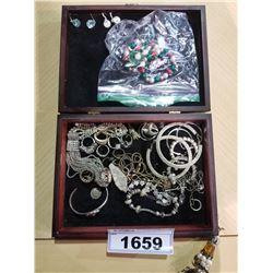 2 BOXES OF COSTUME JEWELRY (RINGS, BRACELETS, EARRINGS, ETC)