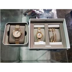 2 FOSSIL WATCHES & BRACELET SET