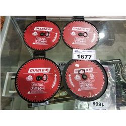 4  DIABLO 7-1/4  ULTRA FINISH SAW BLADES