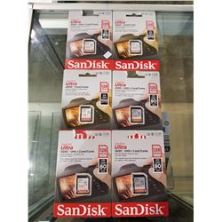6 NEW SANDISK 128 GB SD CARDS