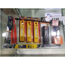 LOT OF ASSORTED PASLODE BATTERIES, OLFA BLADES, AND MORE
