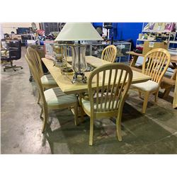 "76"" X 48"" TABLE TWO LEAVES AND SIX CHAIRS"