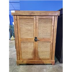 "60""H X 56""W X 29"" SOLID WOOD RUSTIC SOLID WOOD AND WICKER 3 SHELF CABINET"