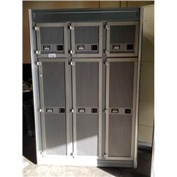 "92""H X 62""W X  26""D MOBILE 6 DOOR CABINET WITH REAR HANGING STORAGE"