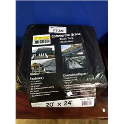 2 WESTERN RUGGED COMMERCIAL GRADE 20X24' BLACK TARPS