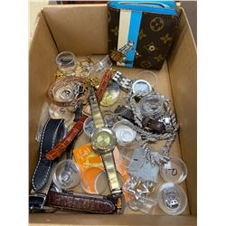 BOX OF ASSORTED COSTUME JEWELRY AND WALLET