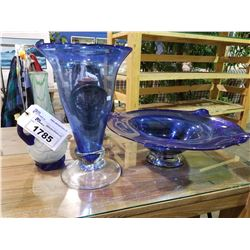2 PIECES OF BLUE GLASS VASE AND DECORATIVE DISH, AND GREEN VASE
