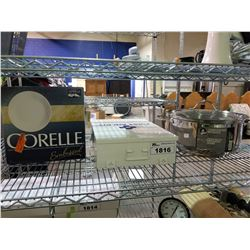CORELLE PLATES, LARGE COOKING POT, FIRST AID CABINET