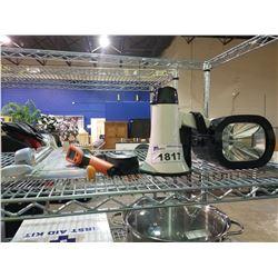 FISKAR PAPER CUTTER, DUAL LASER MEASURING TOOL, MEGAPHONE AND STROBE LIGHT