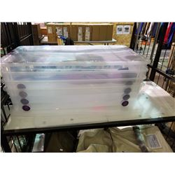 4 ROLLING PLASTIC STORAGE TOTES WITH CONTENTS (UMBRELLA AND WRAPPING PAPER)