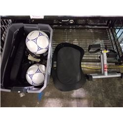 SHELF LOT OF SOCCER BALLS, ANKLE WEIGHTS, FOLDING PEDAL CYCLE AND MORE
