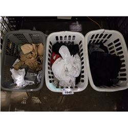 3 BASKETS OF ASSORTED SIZED CLOTHING; T SHIRTS, TANK TOPS, AND MORE