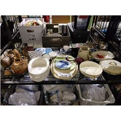 SHELF LOT OF ASSORTED SERVING DISHES AND DECOR