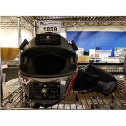 GLX MOTORCYCLE HELMET WITH BAG SIZE LARGE WITH GO PRO MOUNTS