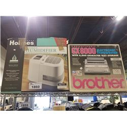 HOLMES HUMIDIFIER 8GAL, AND BROTHER GX-8000 ELECTRONIC TYPEWRITER