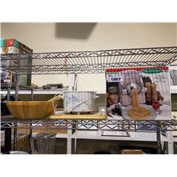 SHELF LOT OF KITCHEN ITEMS; SMALL CROCK POT, PASTA MAKER AND WOODEN SALAD BOWL